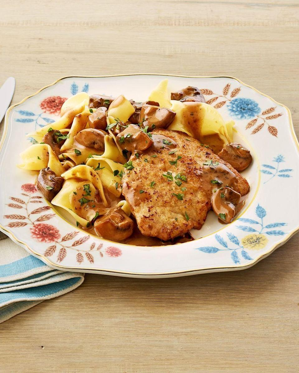 """<p>A breaded pork cutlet, creamy mushrooms, and buttery egg noodles all come together in this super easy family dinner.</p><p><a href=""""https://www.thepioneerwoman.com/food-cooking/recipes/a32381321/pork-marsala-with-mushrooms-recipe/"""" rel=""""nofollow noopener"""" target=""""_blank"""" data-ylk=""""slk:Get the recipe."""" class=""""link rapid-noclick-resp""""><strong>Get the recipe.</strong></a></p><p><a class=""""link rapid-noclick-resp"""" href=""""https://go.redirectingat.com?id=74968X1596630&url=https%3A%2F%2Fwww.walmart.com%2Fsearch%2F%3Fquery%3Ddinnerware&sref=https%3A%2F%2Fwww.thepioneerwoman.com%2Ffood-cooking%2Fmeals-menus%2Fg32933285%2Fcomfort-food-recipes%2F"""" rel=""""nofollow noopener"""" target=""""_blank"""" data-ylk=""""slk:SHOP DINNERWARE"""">SHOP DINNERWARE</a></p>"""