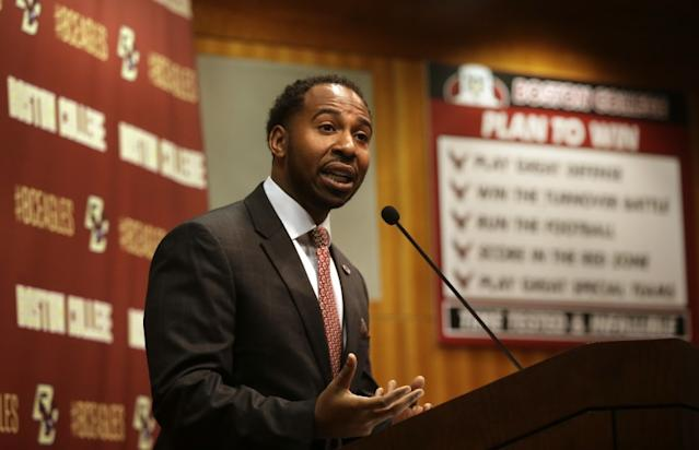 """Martin Jarmond was officially hired by UCLA as their new athletic director on Tuesday. <span class=""""copyright"""">(Steven Senne / Associated Press)</span>"""
