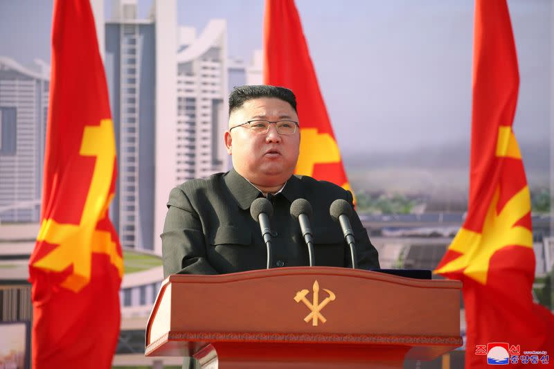 FILE PHOTO: North Korean leader Kim Jong Un attends a ceremony to inaugurate the start of construction on the first phase of a project to eventually build 50,000 new apartments, in Pyongyang