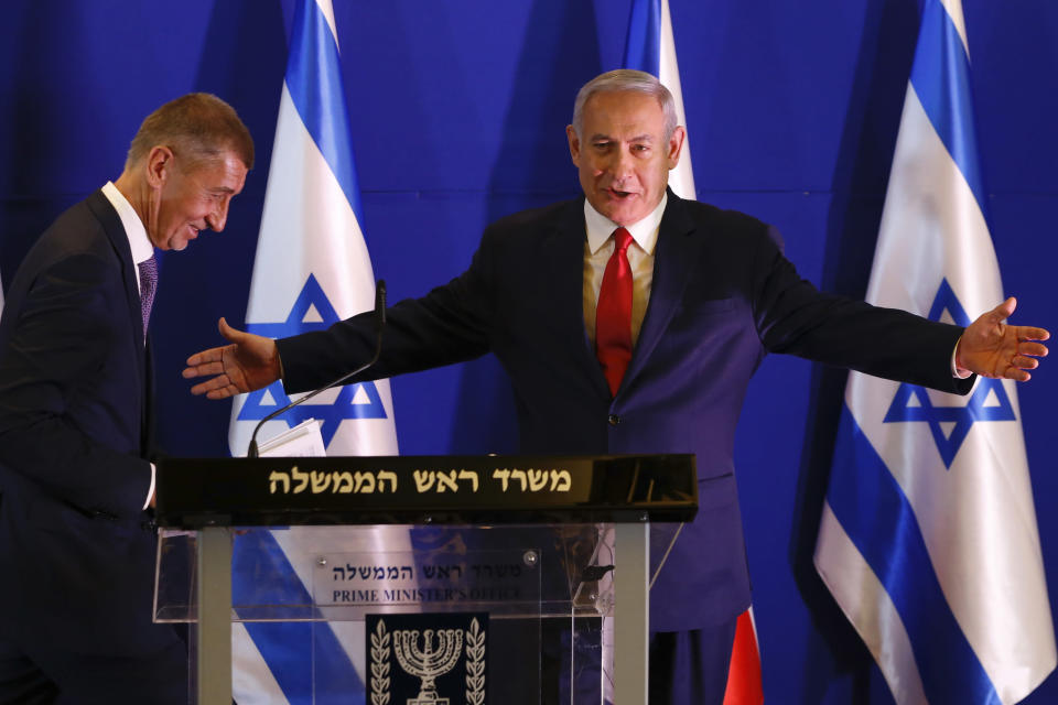 Czech Republic's Prime Minister Andrej Babis, left, Israeli Prime Minister Benjamin Netanyahu attend a press conference after their meeting in Jerusalem, Tuesday, Feb. 19, 2019. (AP Photo/Ariel Schalit, Pool)