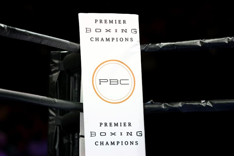 The Premier Boxing Champions logo is seen in the ring at the Barclays Center in Brooklyn, on Saturday, August 1, 2015. (AP Photo/Gregory Payan)