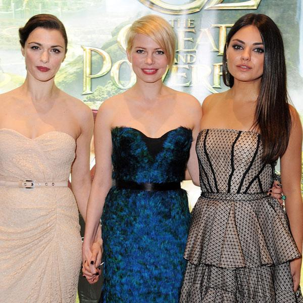 <b>Rachel Weisz, Michelle Williams and Mila Kunis at the London premiere, Feb 2013 </b><br><br>The three leading ladies look dazzling in Leicester Square.<br><br>Image © Getty