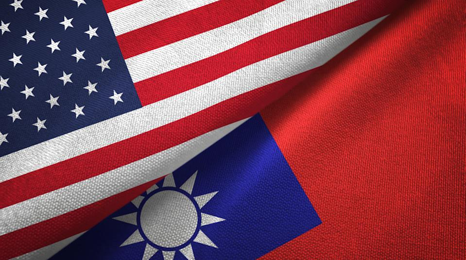 United States and Taiwan two folded flags together