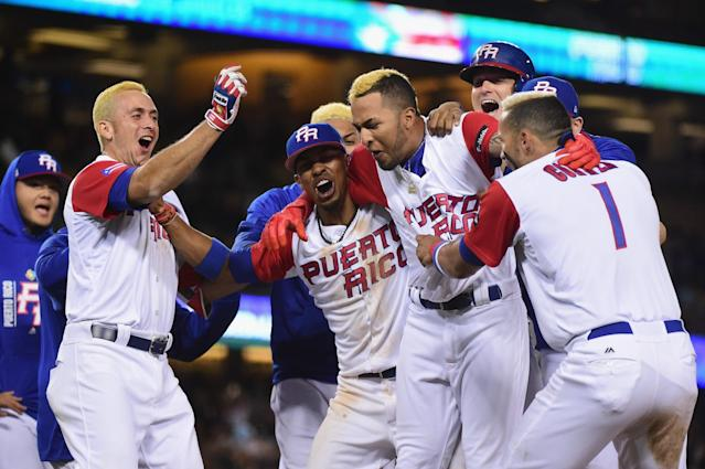 Puerto Rico beat the Netherlands, 4-3, in 11 innings at Dodger Stadium. (Getty Images)