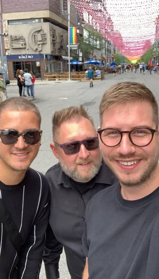 Rene Doiron, right, with friends Jamie Alexander, centre, and Alexander's husband, Josh Breault. 'We were the best of friends, the three amigos,' Alexander said.