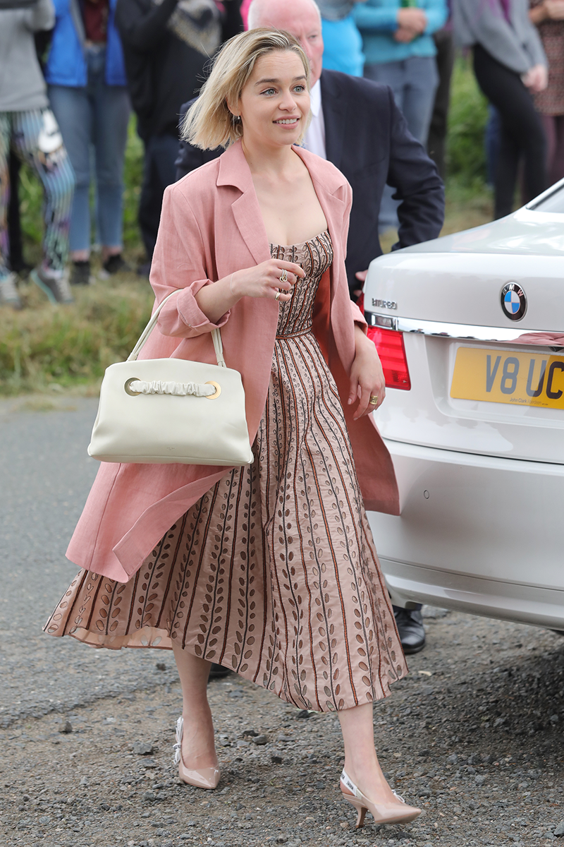 <p>While Emilia Clarke went for a more muted pastel A-line dress with a blush pink overcoat.</p>