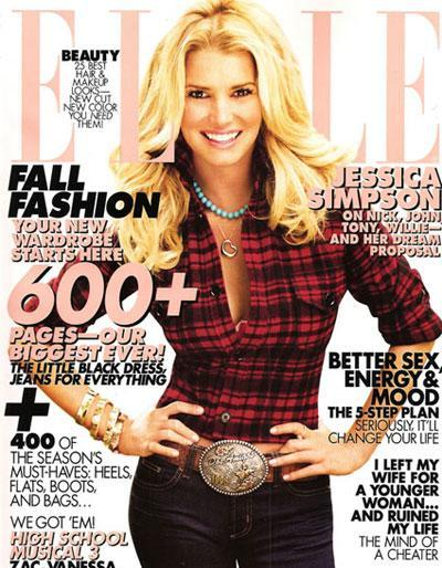Jessica Simpson: On this cover of US ELLE it appears Jessica Simpson is a little out of proportion. Her head and hair is bigger than her waist!