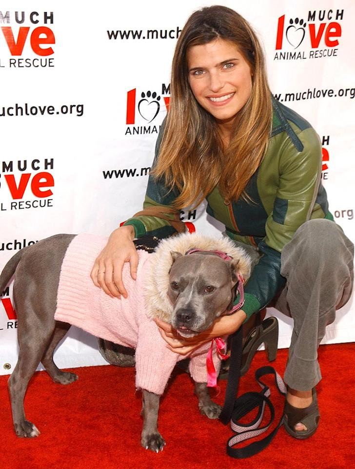 "Lake Bell's dog Margaret is all bundled up. Jean-Paul Aussenard/<a href=""http://www.wireimage.com"" target=""new"">WireImage.com</a> - April 30, 2005"