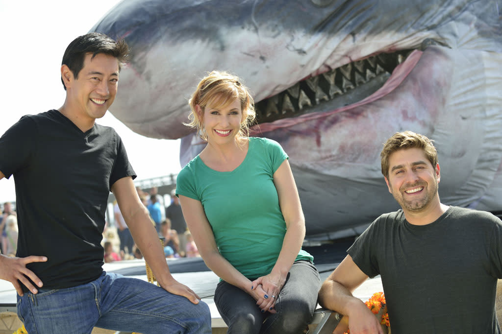 "The MythBusters team -- Kari Byron, Grant Imahara and Tory Belleci -- test a lifesize Megalodon model, dubbed ""Sharkzilla"" and created by Jim Shartis, to see how strong the massive shark's jaws would have been. Sharkzilla"