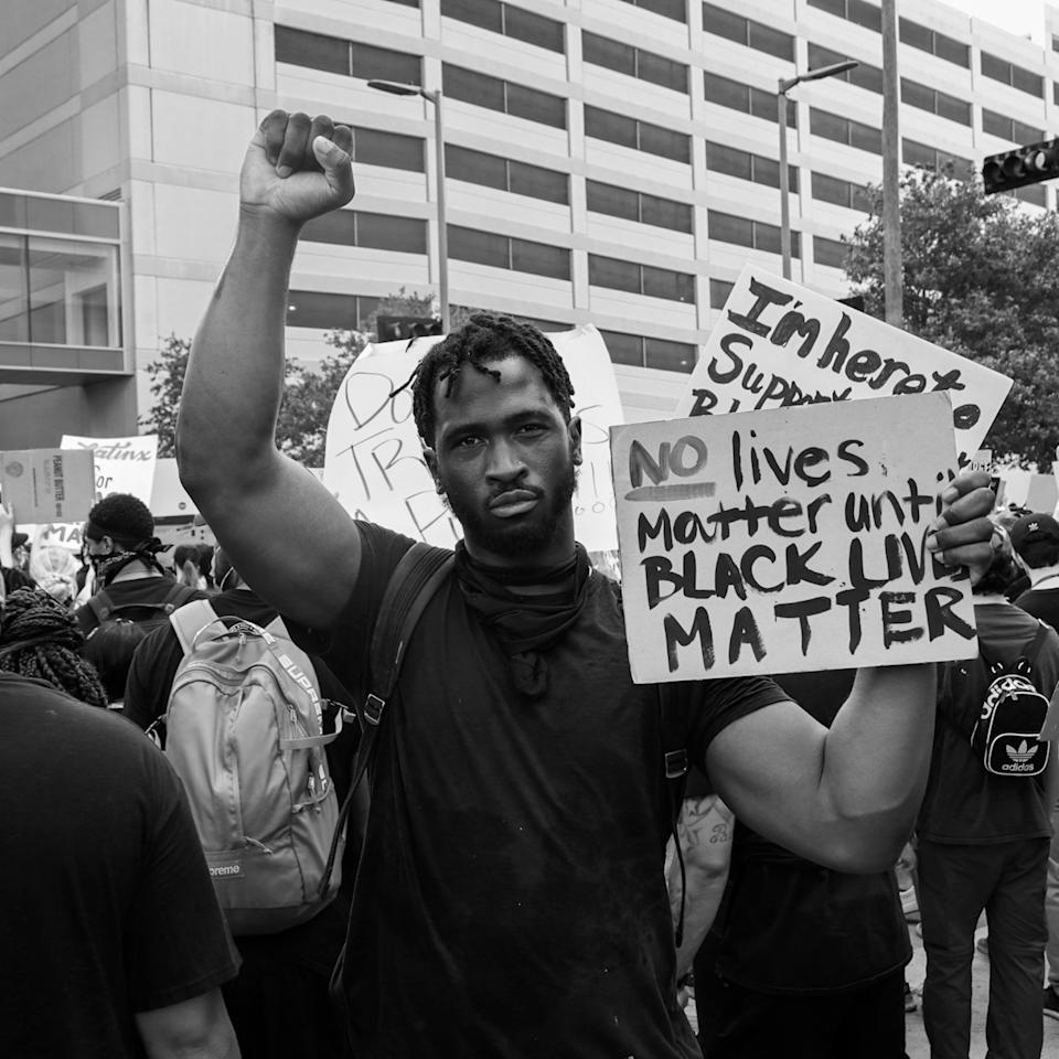 Joshua Keyes marches in Houston following the killing of George Floyd. (D.E. Digital Group)