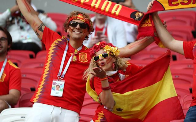 7:04PM 4 mins - Iran 0 Spain 0 Early impressions: Spain are going to see a lot of the ball during this match. Iran are going to sit back and be as physical as possible. Beiranvand is called into action for the first time to punch a loopy cross into the night before Carvajal slashes a long-range shot a long way high and wide. 7:02PM 2 mins - Iran 0 Spain 0 Huge noise from the Iranian contingent inside the stadium. Quite a din in Kazan. 7:00PM Kick off Spain, in white, get this match underway. Iran in red. let's go. 6:53PM Ready for action The players are out and it's national anthem time. 6:45PM Always prepared Bit excessive. Then again, if it rains and he hadn't laminated them, we'd be ripping into him pic.twitter.com/yCB7vFngP0— Adam Hurrey (@FootballCliches) June 20, 2018 6:40PM Here's the scene in Kazan Credit: getty images Credit: reuters 6:31PM My mate Messi Some more pre-reading for you comes in the form of the latest column from our new Telegraph Sport columnist Cesc Fabregas. This one is entitled: Lionel Messi and me - my 18-year friendship with the world's greatest player Here's an extract: People want to put Leo up against Cristiano and of course they both need each other to make themselves better, but we are talking about different teams, different groups, different moments. I think they just respect each other and get on with it. It's been going on too long for either of them to get annoyed by it. When I went to Arsenal, we lost a little bit of contact, but when I re-signed for Barcelona the friendship grew very quickly again and we had a great connection on the pitch, especially in my first season back. In the first seven games, he had nine goals and I had five, and we were both making assists for each other. It was incredible. Credit: afp 6:20PM Ins and outs So, two changes from the Spain side who drew with Portugal. Nacho is dropped after his wonder-goal and replaced by Dani Carvajal, while Lucas Vazquez comes in for Koke. Iran have tinkered slightly 