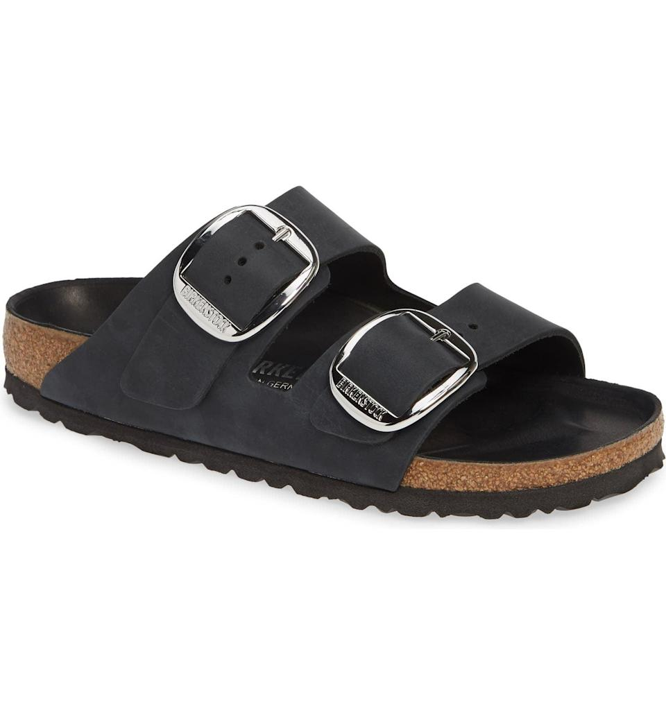 <p>These <span>Birkenstock Arizona Big Buckle Slide Sandals</span> ($150) are here to stay, and we love the look of the bigger buckle on the black sandals.</p>