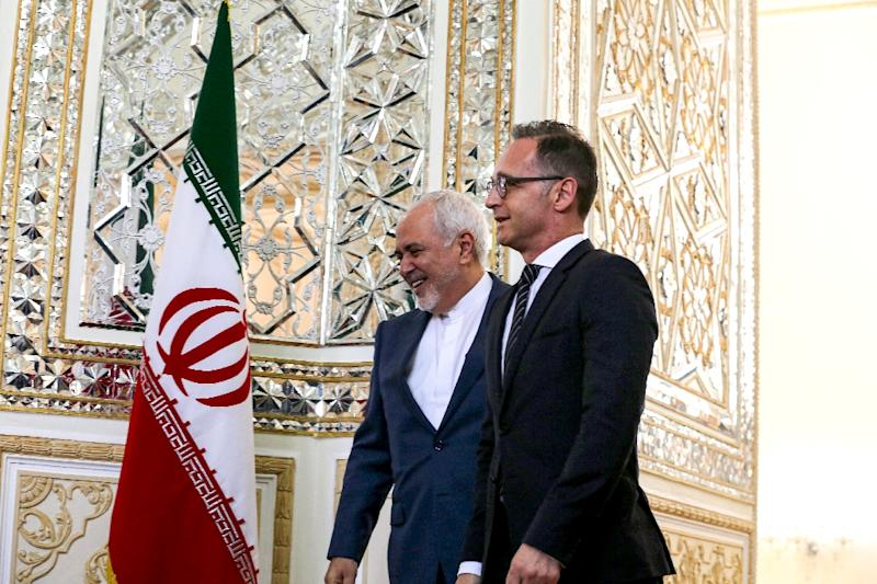 Iran's Foreign Minister Mohammad Javad Zarif (L) receives his German counterpart Heiko Maas in the capital Tehran on June 10, 2019 for talks on the future of the 2015 nuclear deal