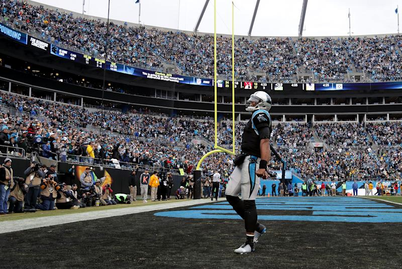 Cam Newton of the Carolina Panthers reacts after a touchdown at Bank of America Stadium in Charlotte, North Carolina, on December 17, 2017.