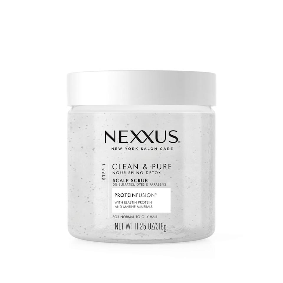 "<p>Massage <a href=""https://www.popsugar.com/buy/Nexxus-Scalp-Scrub-446740?p_name=Nexxus%20Scalp%20Scrub&retailer=target.com&pid=446740&price=15&evar1=bella%3Aus&evar9=45617744&evar98=https%3A%2F%2Fwww.popsugar.com%2Fphoto-gallery%2F45617744%2Fimage%2F45617754%2FNexxus-Scalp-Scrub&list1=hair%2Cmakeup%2Cbeauty%20products%2Cskin%2Cbeauty%20review%2Cdrugstore%20beauty%2Cbest%20of%202018&prop13=api&pdata=1"" rel=""nofollow"" data-shoppable-link=""1"" target=""_blank"" class=""ga-track"" data-ga-category=""Related"" data-ga-label=""https://www.target.com/p/nexxus-clean-and-pure-scalp-scrub-11-25-fl-oz/-/A-75561069?ref=tgt_adv_XS000000&amp;AFID=google_pla_df&amp;fndsrc=tgtao&amp;CPNG=PLA_Health%2BBeauty%2BShopping_Local&amp;adgroup=SC_Health%2BBeauty&amp;LID=700000001170770pgs&amp;network=g&amp;device=c&amp;location=9060351&amp;ds_rl=1246978&amp;ds_rl=1247077&amp;ds_rl=1246978&amp;gclid=EAIaIQobChMIn5qn_auZ4gIVEUoNCh2dAguOEAQYASABEgIQUPD_BwE&amp;gclsrc=aw.ds"" data-ga-action=""In-Line Links"">Nexxus Scalp Scrub</a> ($15) into your scalp for a deep cleanse and exfoliation. It's infused with elastin to condition while it sloughs off the dead skin and product sitting on your scalp.</p>"