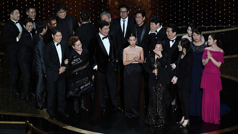 The cast and crew of Parasite celebrate their Oscar win. Photo: ABC