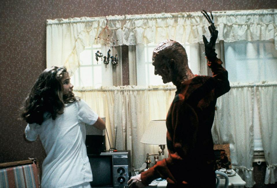 """<p>As Nancy Thompson in <em>A Nightmare in Elm Street</em>, Heather Langenkamp is one of the best <a href=""""https://en.wikipedia.org/wiki/Final_girl"""" rel=""""nofollow noopener"""" target=""""_blank"""" data-ylk=""""slk:final girls"""" class=""""link rapid-noclick-resp"""">final girls</a> in horror movie history. Not only does she take on villain Freddy Krueger directly, she—spoiler warning!—beats him at his own game.</p> <p><em>Available to rent on</em> <a href=""""https://www.amazon.com/Nightmare-Elm-Street-John-Saxon/dp/B002R1UTAQ"""" rel=""""nofollow noopener"""" target=""""_blank"""" data-ylk=""""slk:Amazon Prime Video"""" class=""""link rapid-noclick-resp""""><em>Amazon Prime Video</em></a>.</p>"""
