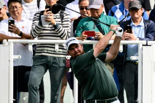 Ireland's Shane Lowry tees off during the third round of the Hong Kong Open