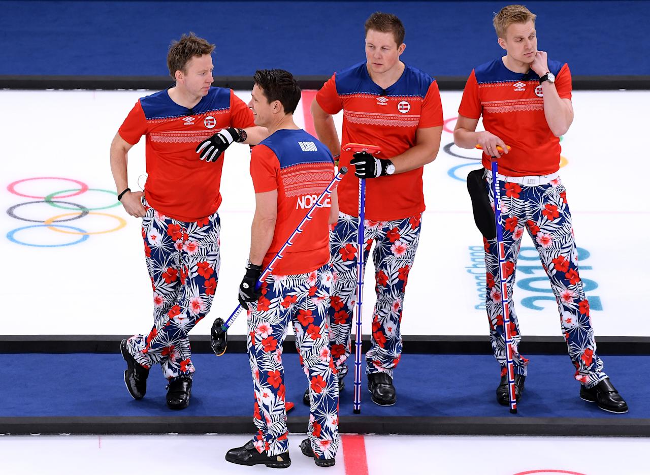 <p>Torger Nergaard, Thomas Ulsrud, Christoffer Svae and Haavard Vad Petersson of Norway wait to play in a 7-4 loss to Canada during the Men's Curling Round Robin on day 6 of the PyeongChang 2018 Winter Olympics at Gangneung Curling Centre on February 15, 2018 in Gangneung, South Korea. (Photo by Harry How/Getty Images) </p>
