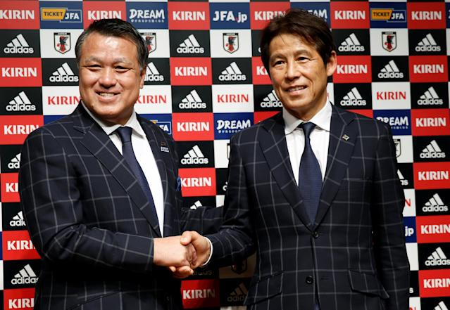Japan's national soccer team's new head coach Akira Nishino (R) and Japan Football Association (JFA) President Kozo Tashima attend a news conference in Tokyo, Japan April 12, 2018. REUTERS/Toru Hanai