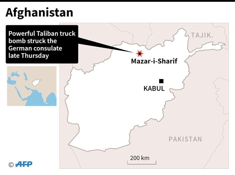 Map of Afghanistan locating Mazar-i-Sharif, where Taliban attacked the German consulate with a powerful truck bomb on November 10, 2016 (AFP Photo/-)