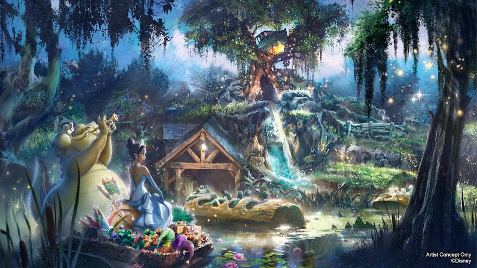 The concept of the new attraction picks up after Princess Tiana's final kiss in the film. She and Louis then bring friends together for their first-ever Mardi Gras performance. (Image: D23.com)