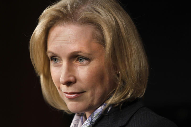 FILE - In this Jan. 31, 2012 file photo, Sen. Kirsten Gillibrand, D-N.Y., listens to a question from the media during a news conference at the Capitol in Washington. (AP Photo/Jacquelyn Martin)