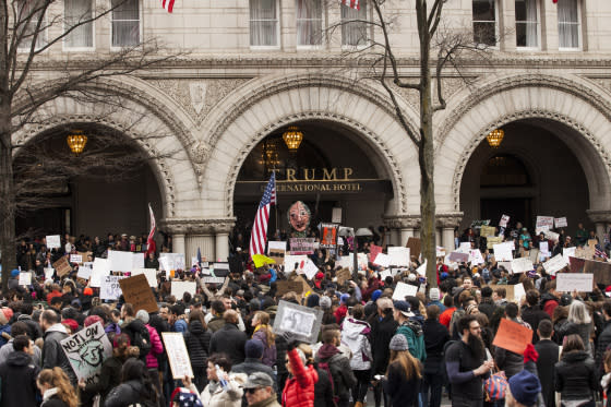 Zach Gibson-Getty ImagesThe Trump hotel in Washington, D.C., has become a magnet for protests--and bad reviews at online rating sites.