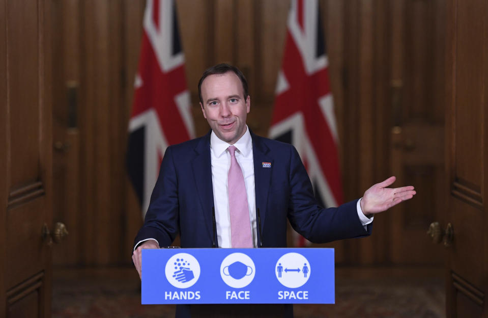 Britain's Health Secretary Matt Hancock during a media briefing on coronavirus in Downing Street, London, Monday, Nov. 16, 2020. (Stefan Rousseau/Pool Photo via AP)
