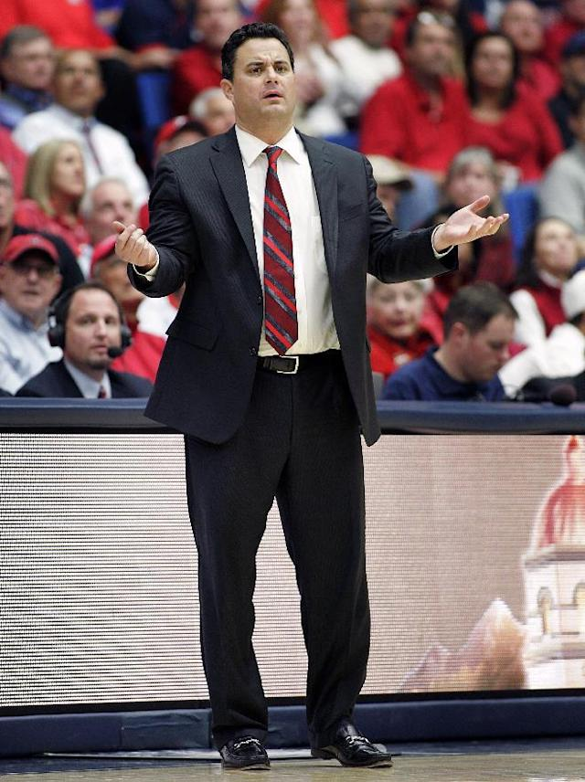 Arizona's head coach Sean Miller reacts on the sideline during the second half of an NCAA college basketball game against Southern University on Thursday, Dec. 19, 2013, in Tucson, Ariz. Arizona won 69-43. (AP Photo/John Miller)