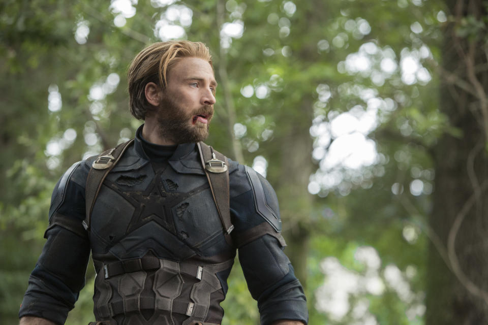 "This image released by Disney shows Chris Evans in a scene from Marvel Studios' ""Avengers: Infinity War."" (Chuck Zlotnick/Marvel Studios via AP)"