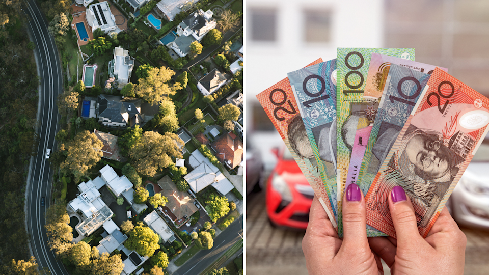 Pictured: Australian property and Australian cash. The Reserve Bank of Australia has decided to cut interest rates in July. Images: Getty