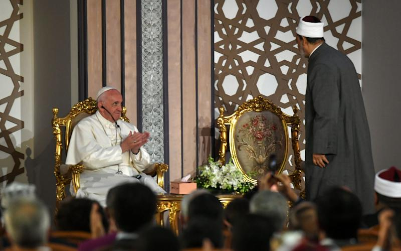 Pope Francis meets with Sheikh Ahmed al-Tayeb, the Grand Imam of Al-Azhar - AFP