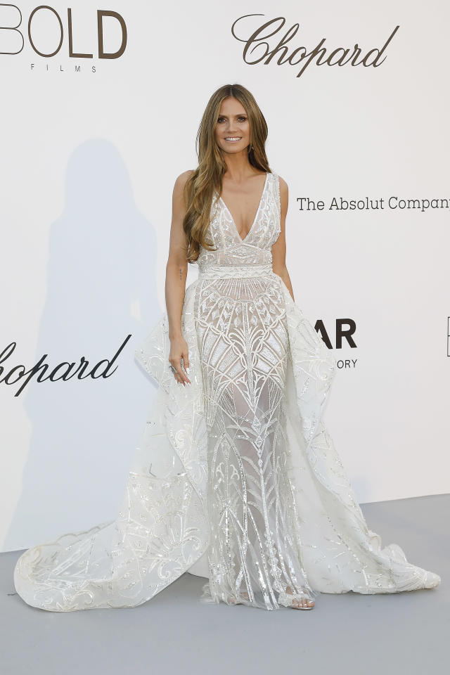 <p>Heidi Klum opted for a stunning gown (complete with train) by Zuhair Murad for the star-studded event. [Photo: Getty] </p>