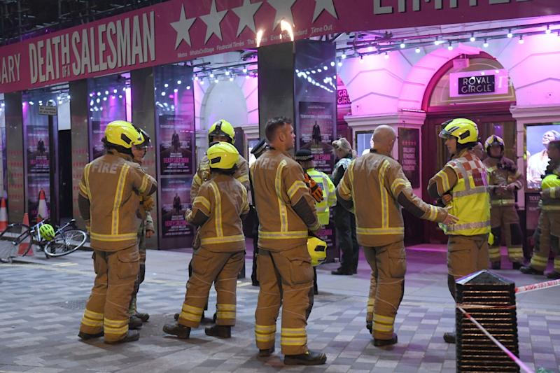 Firefighters outside the Piccadilly Theatre: PA
