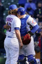 Chicago Cubs relief pitcher Craig Kimbrel, left, celebrates with catcher Willson Contreras after they defeated the Pittsburgh Pirates in a baseball game in Chicago, Saturday, April 3, 2021. (AP Photo/Nam Y. Huh)