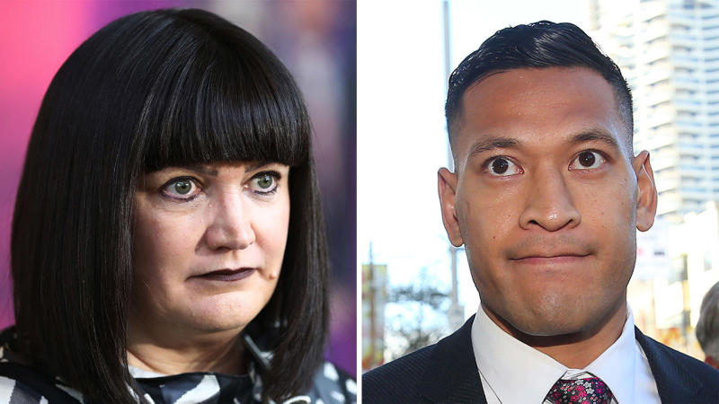Head of Rugby Union Australia Raelene Castle and former Wallabies star Israel Folau.
