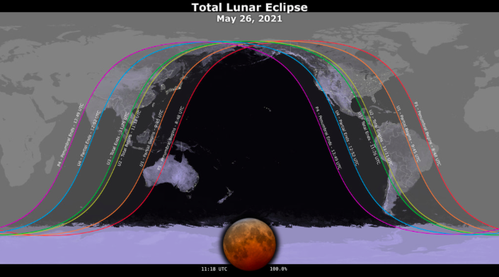 Map showing where the upcoming lunar eclipse will be visible. (Nasa)
