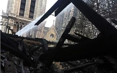Damage to Notre-Dame this morning - Credit: WENN