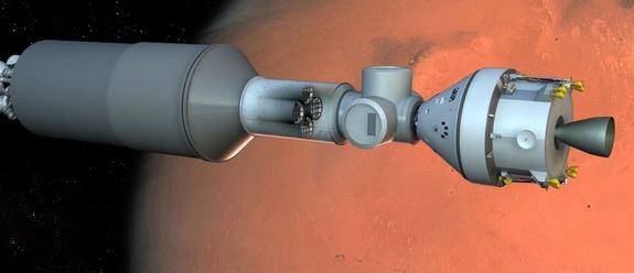 rtist's concept of a manned Mars spacecraft containing a stasis habitat for hibernating astronauts (in tubes at center).