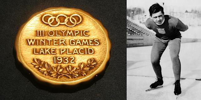 <p>The Lake Placid 1932 Olympic gold medal. It was given to American speed skater Jack Shea for winning the 1,500m event in Men's Speed Skating.<br>(AP Photo/Tina Fineberg; Jack Shea, American speed skater and Olympic gold medalist in Lake Placid, United States, 1932/photo by Getty Images) </p>