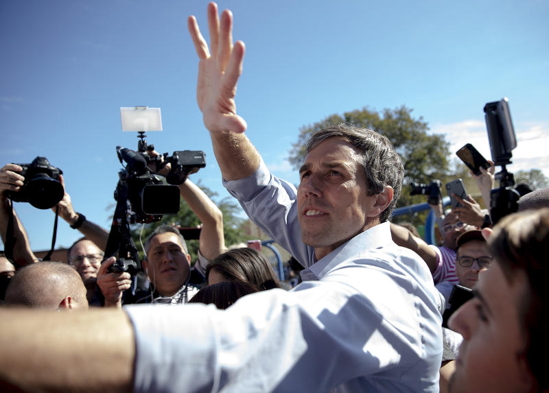 Beto O'Rourke, D-El Paso, greets supporters following a rally at the Pan American Neighborhood Park in Austin, Texas, on Sunday, Nov. 4, 2018. (Nick Wagner/Austin American-Statesman via AP)