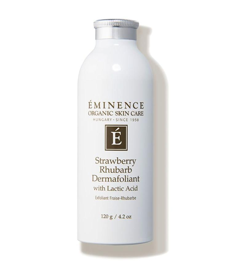 """For those dealing with excessive flakiness and cuticle buildup, a scrub (Eminence Strawberry Rhubarb Dermafoliant) may be the best option for exfoliation."" &mdash; <strong>Mustapich at </strong><strong>Facehaus</strong>. Find it for $48 at <a href=""https://fave.co/2yFWaaE"" target=""_blank"" rel=""noopener noreferrer"">Dermstore</a>."