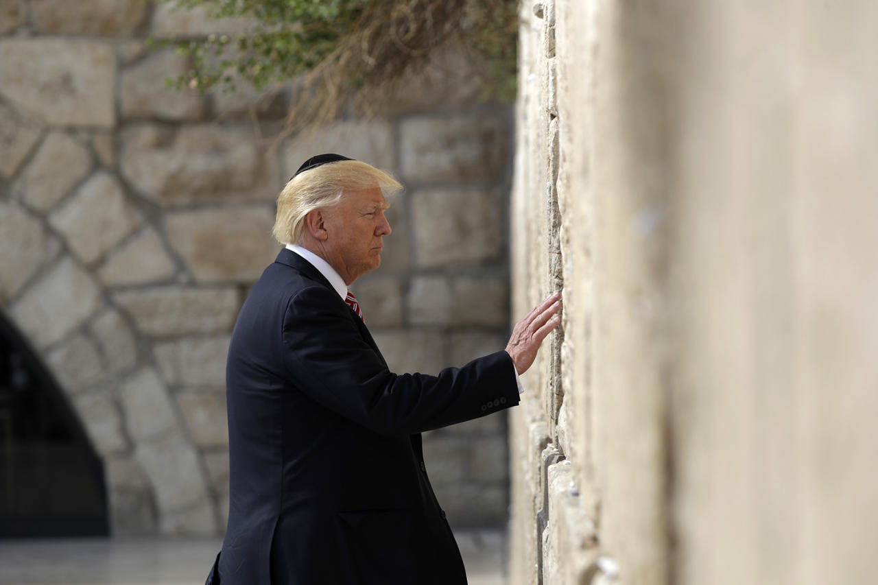 <p>President Donald Trump visits the Western Wall, Monday, May 22, 2017, in Jerusalem. (AP Photo/Evan Vucci) </p>