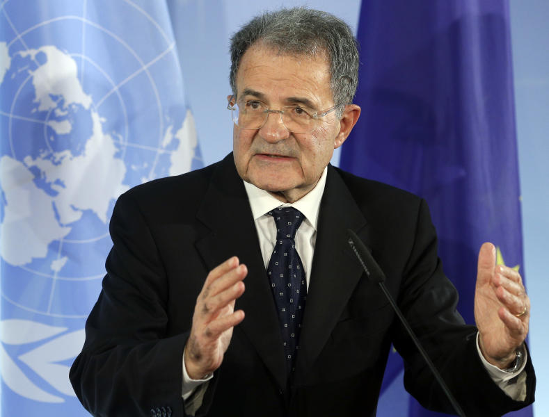 The President of the African Union-UN peacekeeping panel, Romano Prodi, addresses the media during a joint press conference with the German Foreign Minister Guido Westerwelle, unseen, after a meeting on the situation in Mali at the Foreign Office in Berlin, Germany, Tuesday, Oct. 23, 2012. (AP Photo/Michael Sohn)