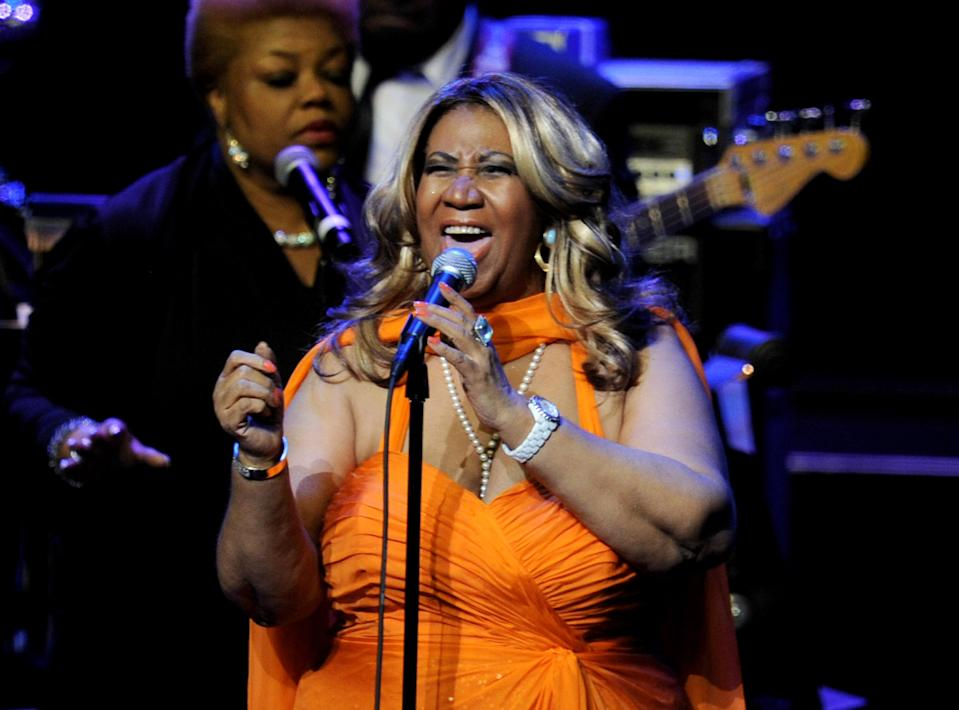 Aretha Franklin performs at the Nokia Theatre L.A. Live (now Microsoft Theater) on July 25, 2012, in Los Angeles. (Photo: Kevin Winter/Getty Images)