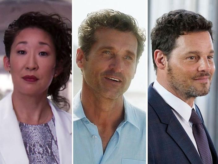 From left to right: Sandra Oh, Patrick Dempsey and Justin Chambers on Greys Anatomy