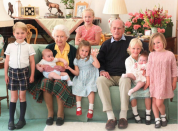 <p>This never-before-seen photo shows Prince Philip and the Queen surrounded by seven of their great-grandchildren at Balmoral Castle in 2018. The photo was taken by Kate, The Duchess of Cambridge. Photo: Instagram/royalfamily</p>