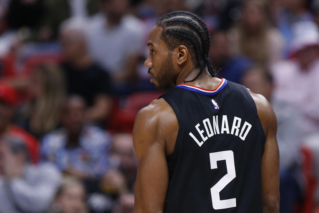 MIAMI, FLORIDA - JANUARY 24:  Kawhi Leonard #2 of the LA Clippers looks on against the Miami Heat during the first half at American Airlines Arena on January 24, 2020 in Miami, Florida. NOTE TO USER: User expressly acknowledges and agrees that, by downloading and/or using this photograph, user is consenting to the terms and conditions of the Getty Images License Agreement.  (Photo by Michael Reaves/Getty Images)