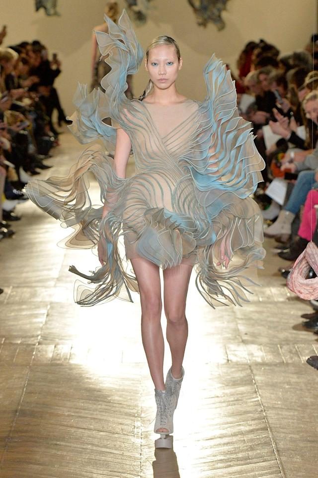 <p>Herpen, known for using 3D printing in her work, is able to create new shapes and forms previously unseen in the fashion industry. Here, a model wears one of her pieces during Paris Haute Couture fashion week. (Photo: Getty) </p>